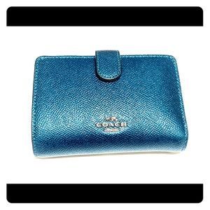 Coach wallet metallic teal blue green